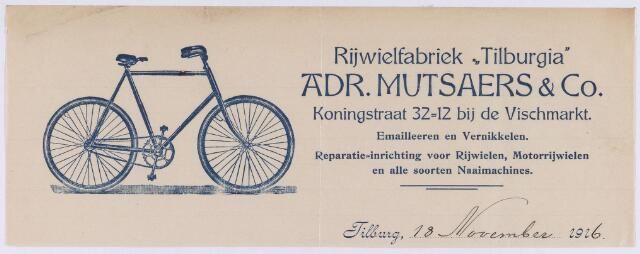 """060769 - Briefhoofd. Briefhoofd van Rijwielfabriek """"Tilburgia"""" Adr. Mutsaers & Co, Koningstraat 32=12 bij de Vischmarkt"""
