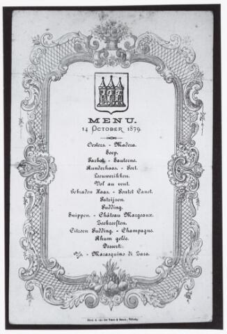 053037 - Menu voor een diner op 14 oktober 1879 gedrukt door drukkerij A. van der Voort & Zonen, Tilburg.