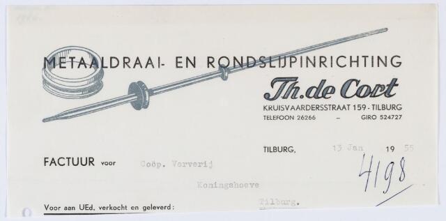 059871 - Briefhoofd. Nota van Metaaldraai- en Rondslijpinrichting Th. de Cort, Kruisvaardersstraat 159, voor Coöp. Ververij Koningshoeven