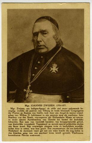 604288 - Ansichtkaart ter nagedachtenis aan de vijftigste overlijdensdag van monseigneur Joannes Zwijsen (1793-1877). Hij stichtte als pastoor van Tilburg de congregaties der Fraters en Zusters van Liefde. Later werd hij benoemd tot bisschop van Den Bosch en werd de eerste nieuwe aartsbisschop van Utrecht.