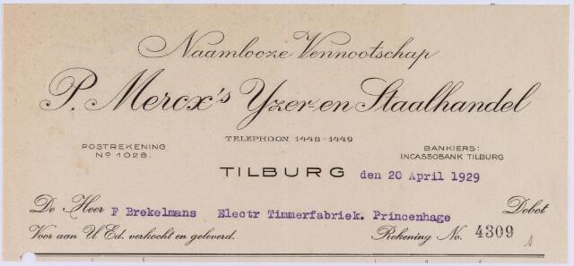 060725 - Briefhoofd. Nota van de naamlooze vennootschap P. Mercx's ijzer- en staalhandel, voor F. Brekelmans, Eletr. Timmerfabriek, Princenhage