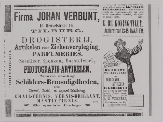 040181 - Advertentie van de Firma Johan Verbunt in de Tilburgsche Courant van 1902