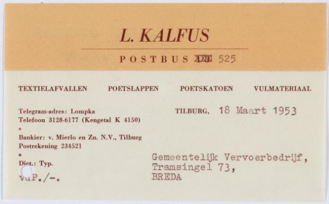 060421 - Briefhoofd. Nota van L. Kalfus, textielafvallen, poetslappen, poetskatoen en vulmateriaal voor Gemeentelijk Vervoerbedrijf, Tramsingel 73 Breda