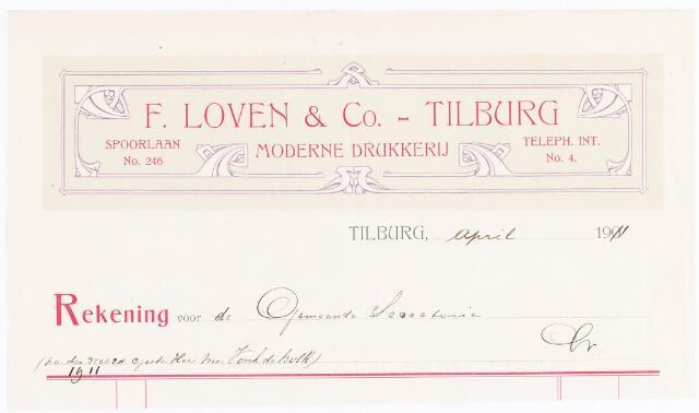 060603 - Briefhoofd. Nota van F. Loven & Co, moderne boek-, steen- en handelsdrukkerij, Spoorlaan 246 voor de gemeente Tilburg