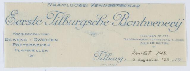 059674 - Briefhoofd. Briefhoofd van de naamloze vennootschap Eerste Tilburgsche Bontweverij, fabrikanten van Dekens, Dweilen, Poetsdoeken en Flanellen, Houtstraat 142