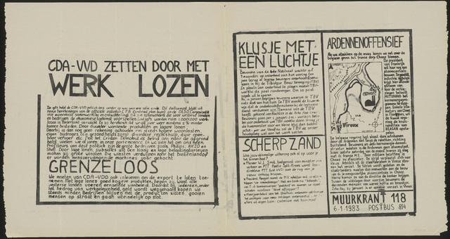 668_1983_118 - Muurkrant: CDA-VVD zetten door met werk lozen