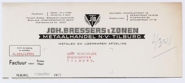 059732 - Briefhoofd. Nota van Joh. Bressers & Zonen Metaalhandel N.V. Tilburg, Emmastraat 77-79, voor Coöp. Ververijen, Koningshoeven.
