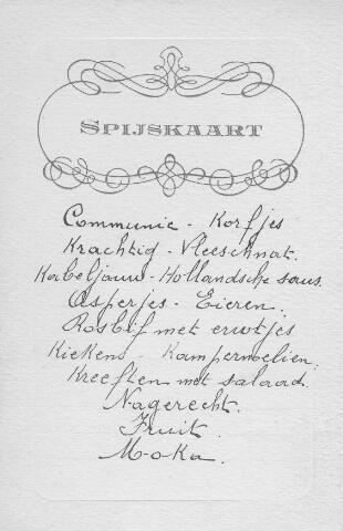 064236 - Menu van het diner gegeven ter gelegenheid van de plechtige communie van Netty Maas.