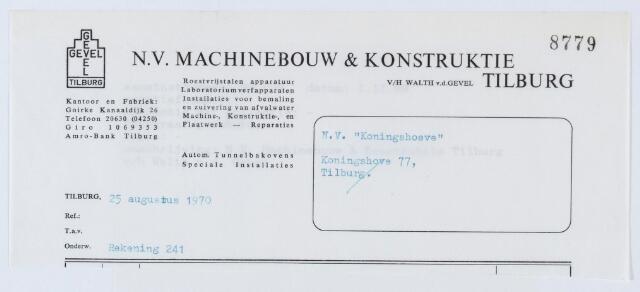 """060147 - Briefhoofd. Nota van N.V. Machinebouw & Konstruktie v/h Walth. v.d. Gevel, Goirke Kannaaldijk 26, voor N.V. """" Koningshoeven"""", Koningshoeven 77"""
