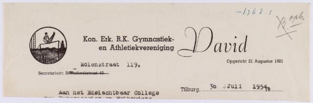 061472 - Briefhoofd. Verenigingen. Briefhoofd van de koninklijk erkende R.K. Gymnastiek en Athlethiekvereniging David, Molenstraat 119