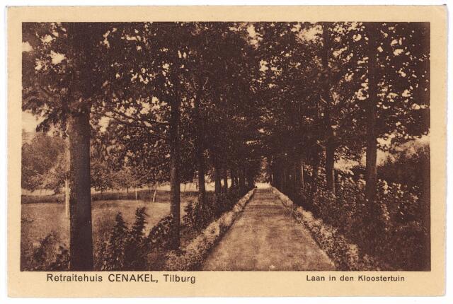 001443 - Laan in de kloostertuin van het retraitehuis en klooster van O.L.V. van het Cenakel aan de Koningshoeven, nu Kempenbaan.