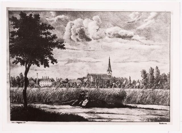 035880 - Zicht op Tilburg; De schuurkerk van het Heike, thans Stadhuisplein. Lithografie.