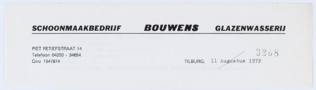 059681 - Briefhoofd. Briefhoofd van Schoonmaakbedrijf Bouwens, Glazenwasserij, Oerlesestraat 121, daarvoor Piet Retiefstraat 14