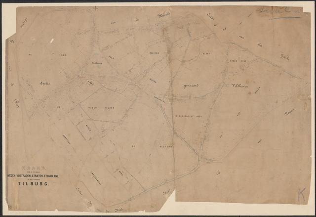 652663 - Wegenlegger. Kaart van de openbare wegen, voetpaden, straten, stegen, etc. Tilburg, Sectie K (Veldhoven), blad 1. Schaal 1:2500. Ongedateerd.