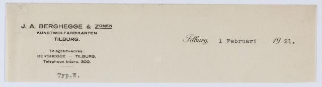059571 - Briefhoofd. Briefhoofd van J.A. Berghegge & Zonen, Kunstwol fabrikanten, St. Josephstraat 74