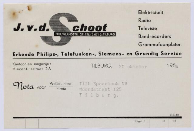 061055 - Briefhoofd. Nota van J. v.d. Schoot, elektriciteit, Vincentiusstraat 2A voor Tilb. Spaarbank, Noordstraat 125 te Tilburg