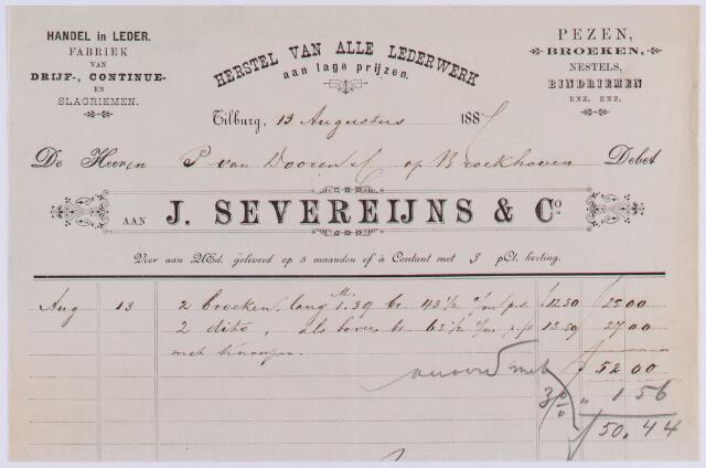 061091 - Briefhoofd. Nota van J. Severeijns & Co,  handel in leder,  voor Pieter van Dooren