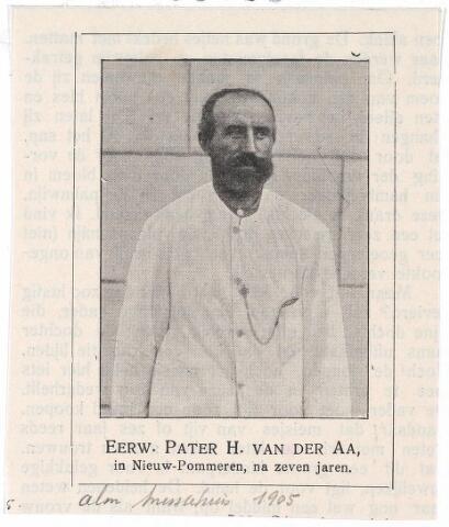 005163 - Pater H. van der AA uit Tilburg, Missionaris in Nieuw-Pommeren. Ontleend aan de Almanak Missiehuis Tilburg 1905.