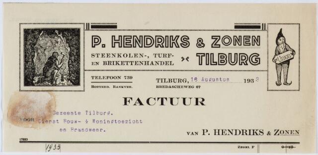 060269 - Briefhoofd. Nota van P. Hendriks & Zonen, Steenkolen-, turf- en brikettenhandel, Bredaseweg 67 voor de gemeente Tilburg