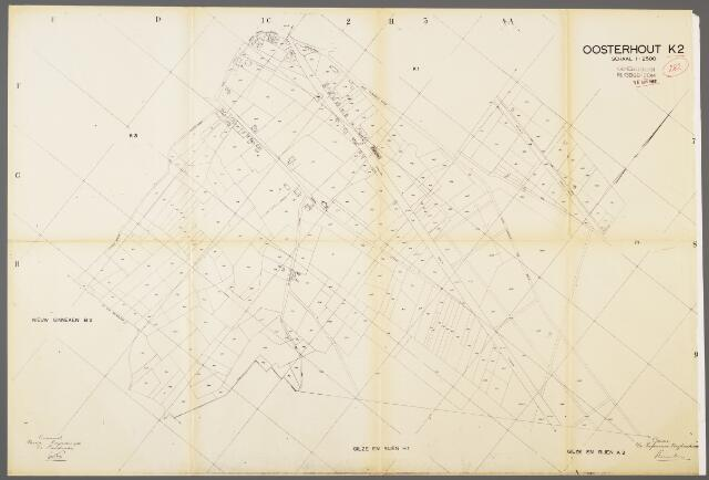 104974 - Kadasterkaart. Kadasterkaart / Netplan Oosterhout. Sectie K2. Schaal 1: 2.500.