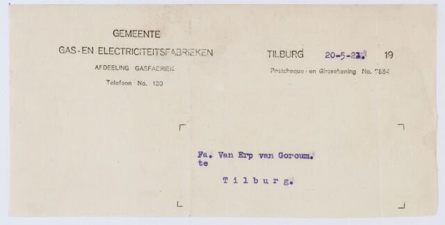 060126 - Briefhoofd. Briefhoofd van Gemeente Gas- en Electriciteitsfabrieken te Tilburg