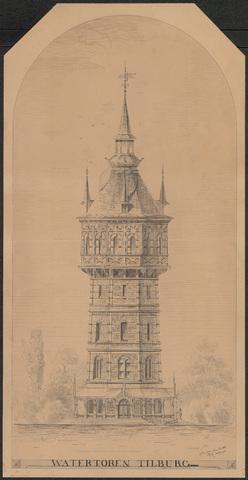 652556 - Watertoren te Tilburg. Niet-uitgevoerd ontwerp.