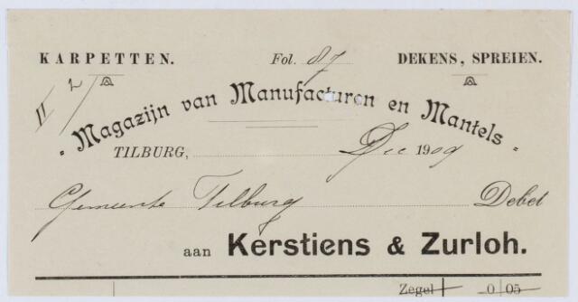 060441 - Briefhoofd. Nota van Magazijn van Manufacturen en Mantels Kerstiens & Zurloh, voor de gemeente Tilburg