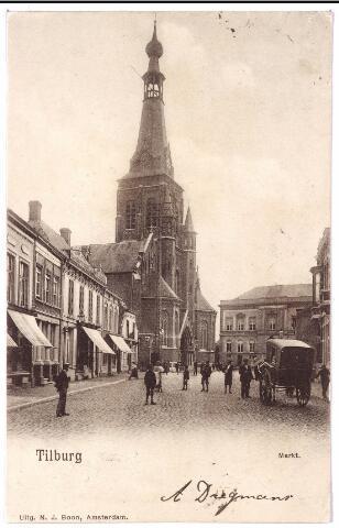 001844 - Oude Markt, voorheen de Markt met kerk van het Heike en op de achtergrond het voormalige gemeentehuis.