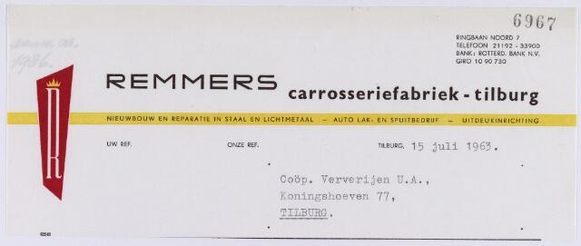 060960 - Briefhoofd. Nota van J. Remmers Carrosserie fabriek, Ringbaan-Noord 7 voor Coöp. Ververijen U.A., Koningshoeven 77