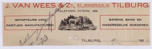 061411 - Briefhoofd. Briefhoofd van J. van Wees & Zn, St. Annaplein 15, importeurs
