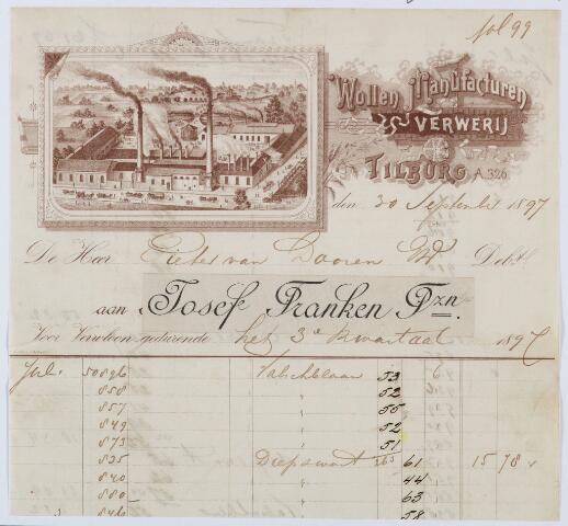 060104 - Briefhoofd. Nota van Wollen manufacturen verwerij Josef Franken Pzn voor Pieter van Dooren