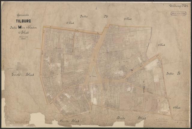 652617 - Kadasterkaart Tilburg, Sectie M (Kerk), blad 2. Schaal 1:1000. z.j.
