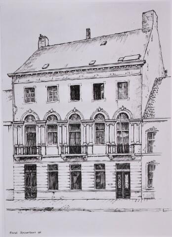 031569 - Tekening. Spoorlaan. N.V. Verzekering-maatschappij Johan de Witt, Tilburg. Dit pand werd eerst o.a. bewoond werd door o.a. KNO arts J.G.M. Weijers vestigde zich in de jaren 50 van de vorige eeuw de N.V. Verzekering-maatschappij Johann de Witt.