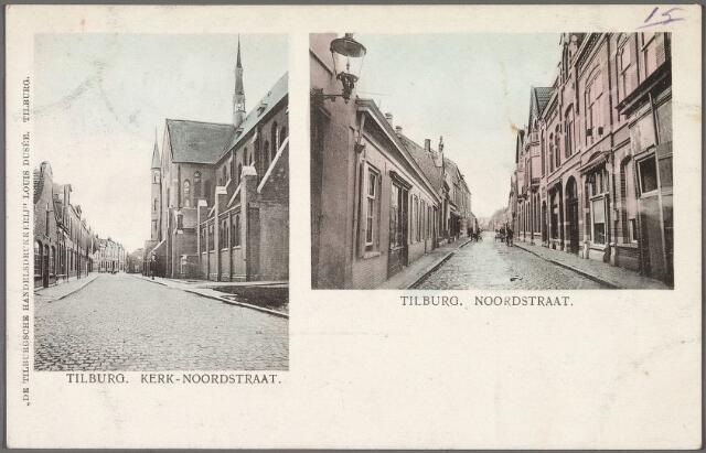 010685 - Links de kerk van Noordhoek met de Industriestraat, die uitmondde in de Noordstraat. Rechts de Noordstraat.