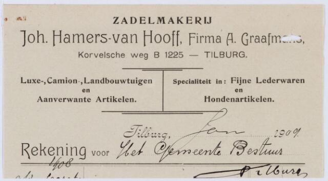 060236 - Briefhoofd. Nota van Tilburgsche Zadelmakerij Johan Hamers-van Hooff, Korvelscheweg 6, Firma A. Graafmans, voor gemeente Tilburg