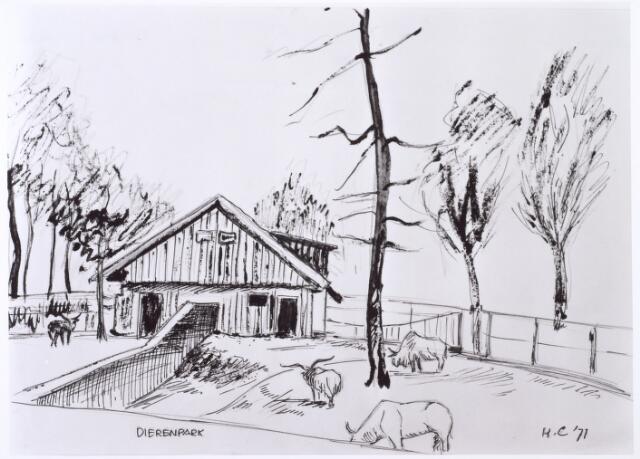 016274 - Tekening. Tekening van H. Corvers uit 1971 van een dierenverblijf in het diepenpark aan de Bredaseweg