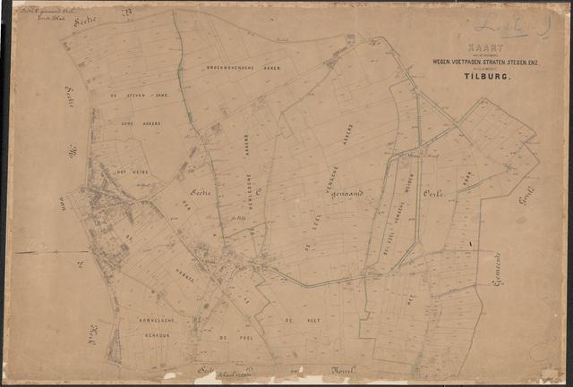 652642 - Wegenlegger. Kaart van de openbare wegen, voetpaden, straten, stegen, etc. Tilburg, Sectie C (Oerle), blad 1. Schaal 1:2500. Ongedateerd.