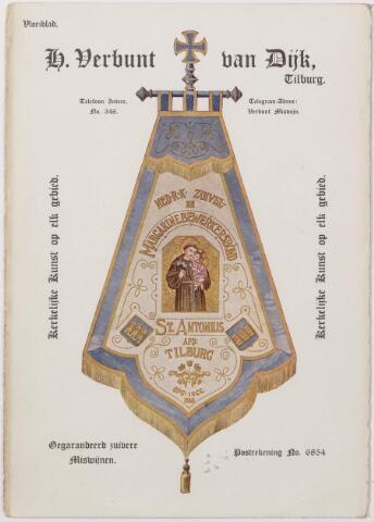 041348 - Vloeiblad Van de firma H. Verbunt van Dijk te Tilburg kerkelijke kunst op elk gebied.  Ned. R.K. Zuivel en margarinebewerkingsbond St. Antonius afd. Tilburg opgericht 1 october 1916.