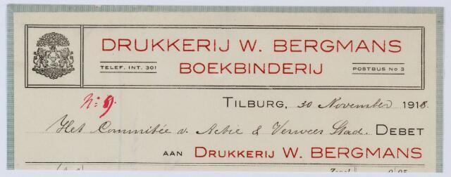 059580 - Briefhoofd. Rekening van Drukkerij W. Bergmans voor Het Commitée v. Actie & Verweer Stad.