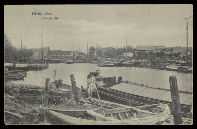 91752 - Made en Drimmelen. Briefkaart aan Mej. J. van Iersfel in Moerdijk voorstellende het oude Havenzicht in Drimmelen.