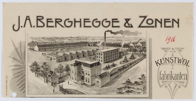 059569 - Briefhoofd. Briefhoofd van J.A. Berghegge & Zonen, Kunstwolfabrikanten, St. Josephstraat 74