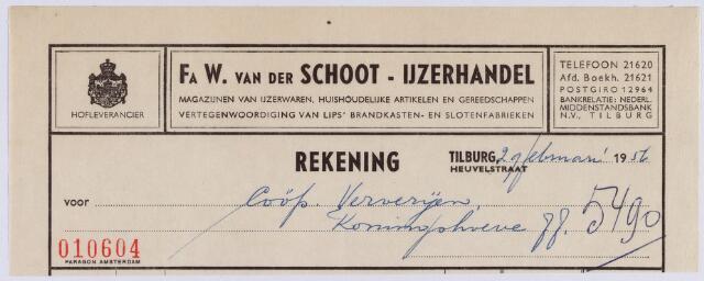 061064 - Briefhoofd. Nota van Firma W. van der Schoot, Koninklijke magazijnen van Ijzerwaren, Heuvelstraat 56 voor Coöp Ververijen Koningshoeve 77