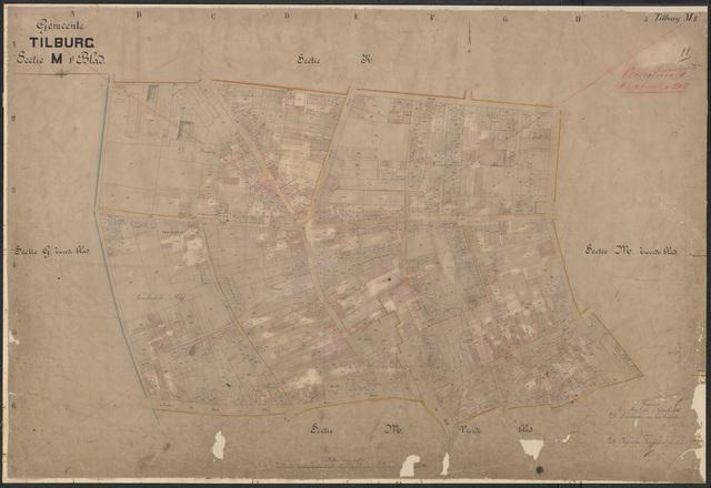652614 - Kadasterkaart Tilburg, Sectie M (Kerk), blad 1. Schaal 1:1000. 1886.