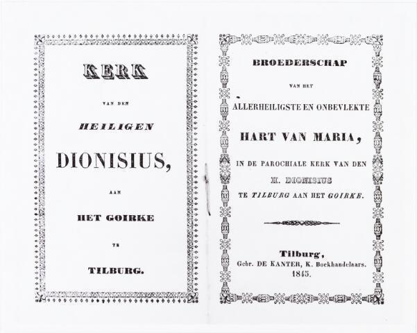 009755 - Omslag van het boekje Broederschap van het Allerheiligste en onbevlekte Hart van Maria in de parochiale kerk van den H. Dionisius te Tilburg aan het Goirke. gedrukt in 1845 door Gebr. K. de Kanter, Boekhandelaars