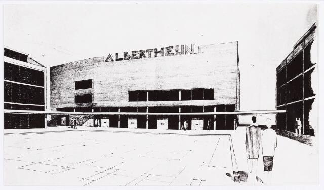 034511 - Tekening. Het Albert Heijn gebouw in het winkelcentrum Westermarkt