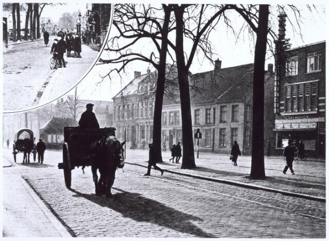 021024 - Paard en wagens op de Heuvel in 1933. Rechts de bakkerij van Henri Rutten