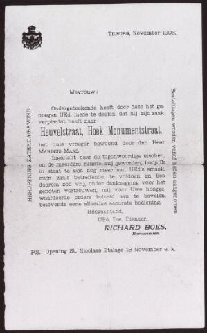 021750 - Schrijven van Richard Boes in november 1903 waarin hij de heropening aankondigt van zijn zaak op de hoek Heuvelstraat - Monumentstraat