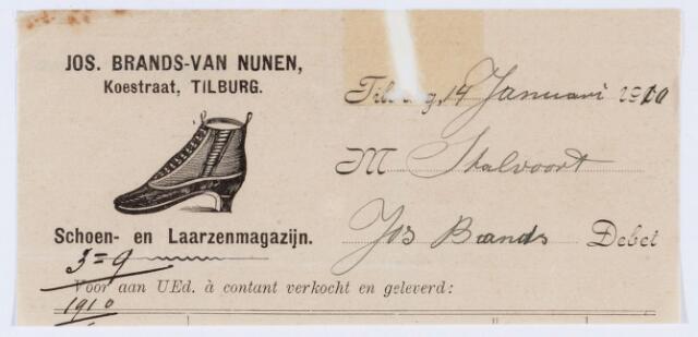 059712 - Briefhoofd. Nota van Jos Brands - van Nunen, Schoen- en Laarzenmagazijn aan de Koestraat voor M. Stalvoort