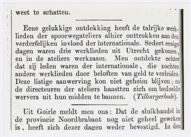 036919 - Spoorwegen, Centrale Werkplaats, Atelier, NS: Artikel uit de Tilburgse Courant van 5 oktober 1871 betrekking hebbende op de Werkplaats der Nederlandse Spoorwegen in Tilburg.