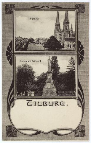 003130 - Kaart met Jugendstil versiering. Boven de Heuvel, onder gedenknaald voor koning Willem II.
